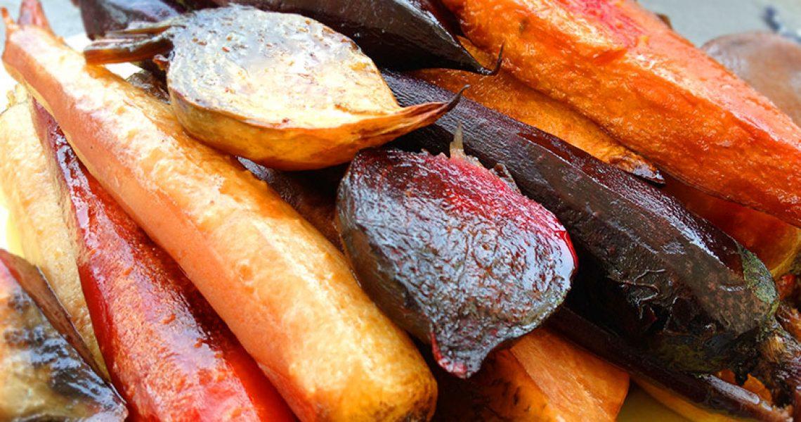 ירקות שורש צבעוניים צלויים