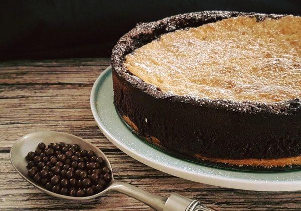 עוגת שוקולד עשירה בשילוב בצק פריך
